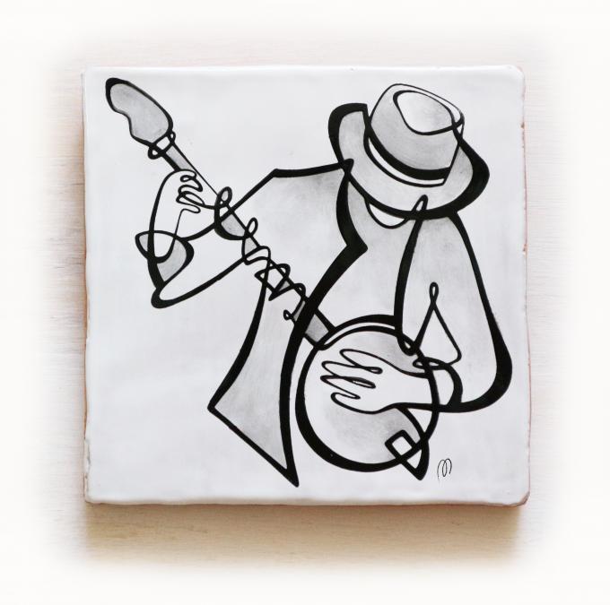 azulejo-músico-tocando-banjo-banyo-jazz-losa-20x20-ppmiralles-cerámica-de-autor-venta-on-line