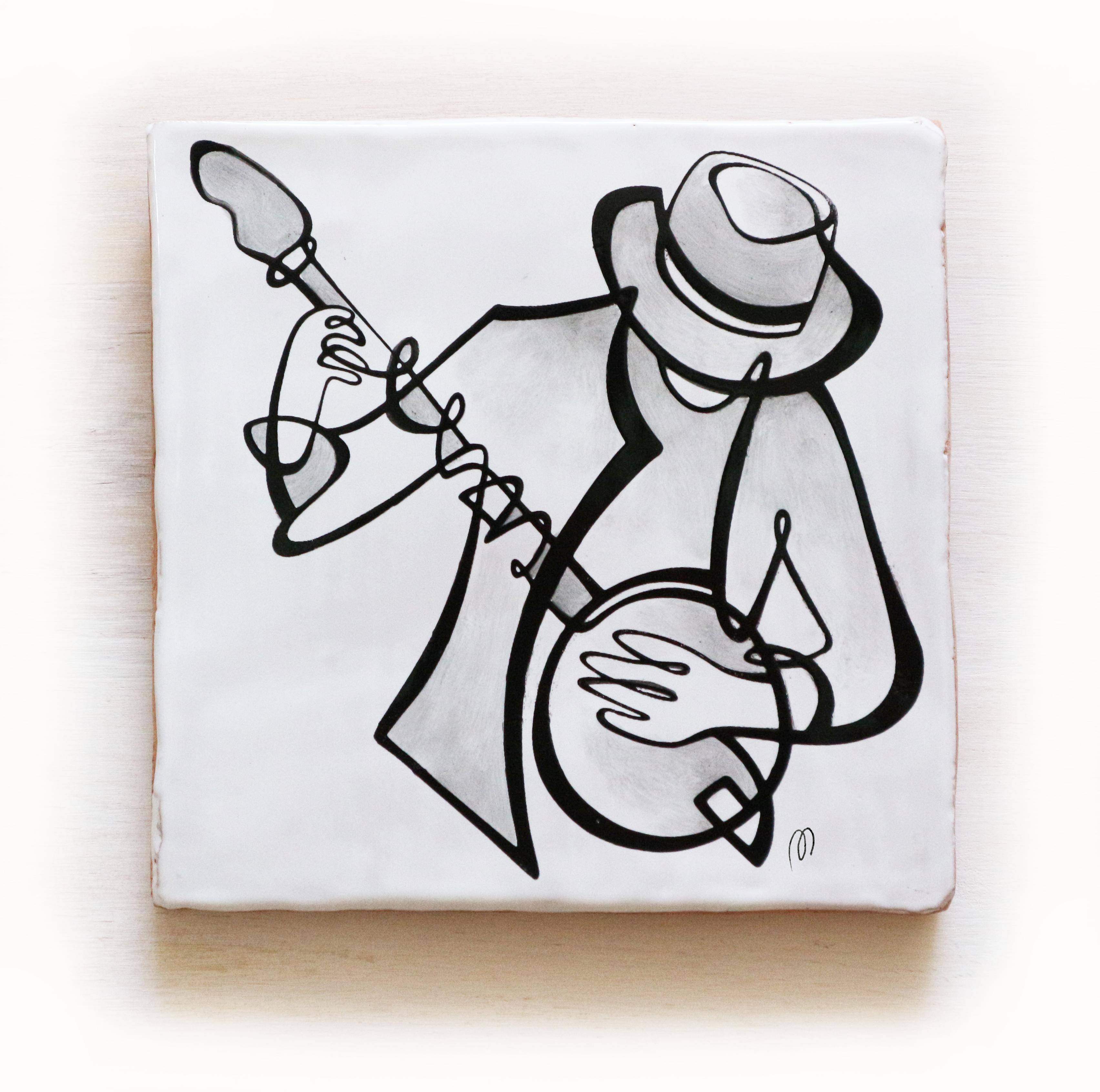 azulejo-músico-tocando-banjo-banyo-jazz-losa-20×20-ppmiralles-cerámica-de-autor-venta-on-line