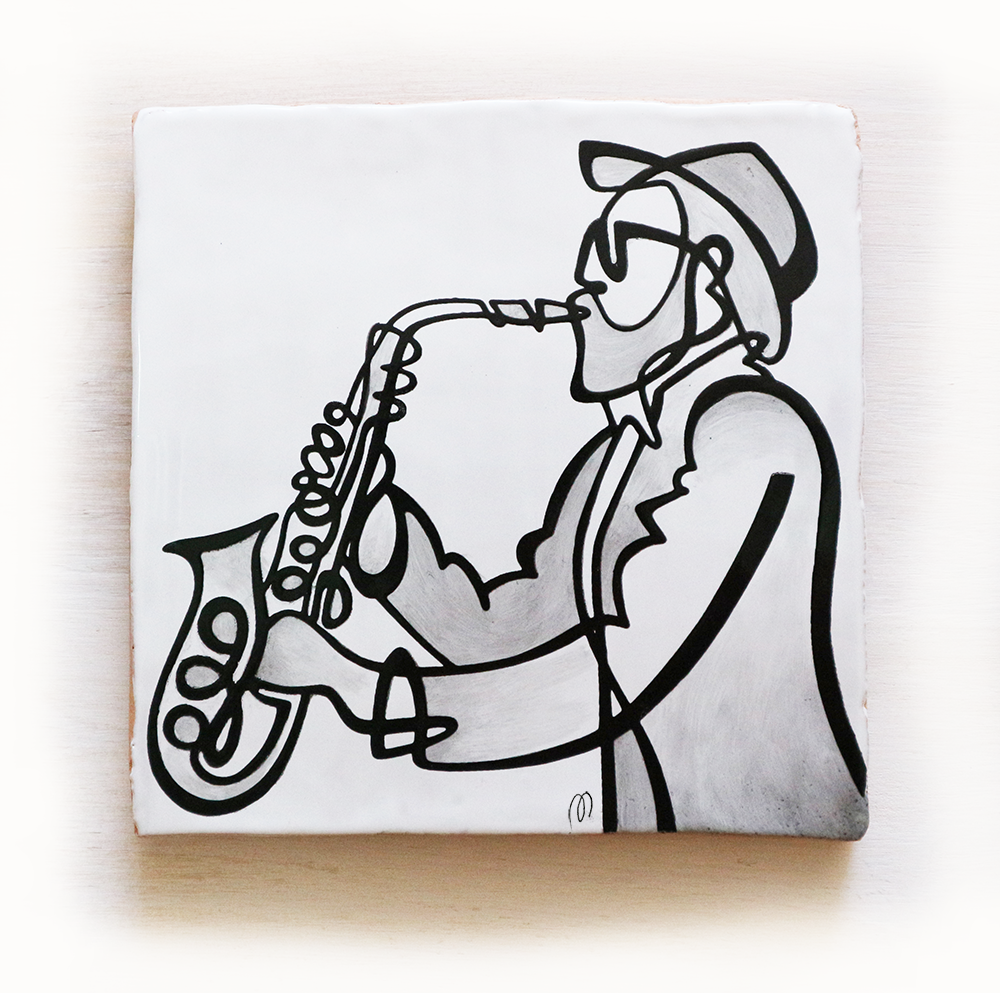 jazz-azulejo-músico-tocando-saxo-saxofón-losa-20x20-ppmiralles-cerámica-de-autor-venta-on-line