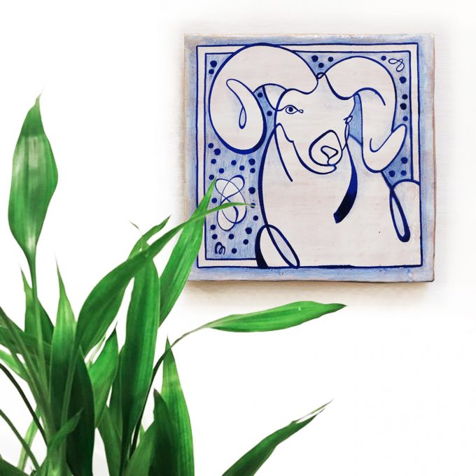 Aries-coleccion-zodiaco-horóscopo-ppmiralles-cerámica-valenciana-tradicional-carnero-azulejo